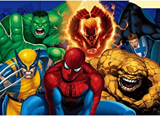 Comics Superhero Photo Backdrop 7x5ft Spiderman and Hulk Photography Background Birthday for Kids Vinyl Avengers Backgrounds Backdrop Tabletop Custom Name