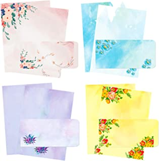 48Pcs Stationary Writing Paper with Envelopes, Decorative Stationery Sheets with 4 Designs , Double-sided Printing - 32 St...