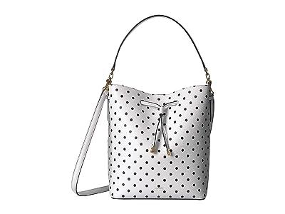 LAUREN Ralph Lauren Dryden Polka Dot Print Debby Drawstring (Optic White/Black) Handbags