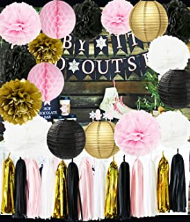 Ooh La La Baby Shower Decorations Pink Gold White Black Paris Party Decorations Tissue Paper Pom Pom Honeycomb Ball/Paper Lantern for Girls' Birthday Decorations French/Parisian Birthday Party Ideas