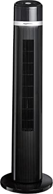 AmazonBasics Oscillating 3 Speed Tower Fan with Remote (Renewed)