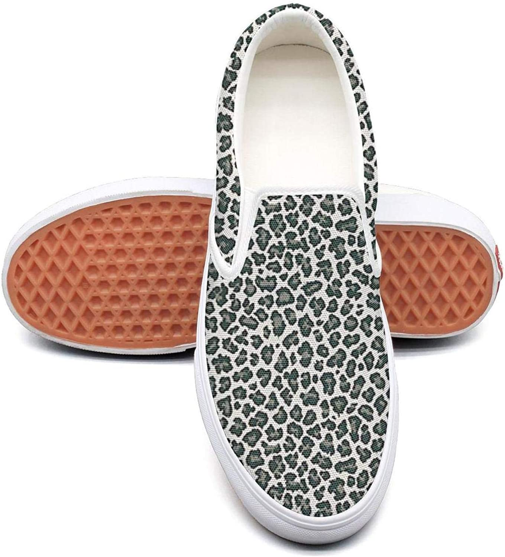 Refyds-es Black Animal Cheetah Print Womens Fashion Slip on Low Top Lightweight Canvas Athletic Sneakers