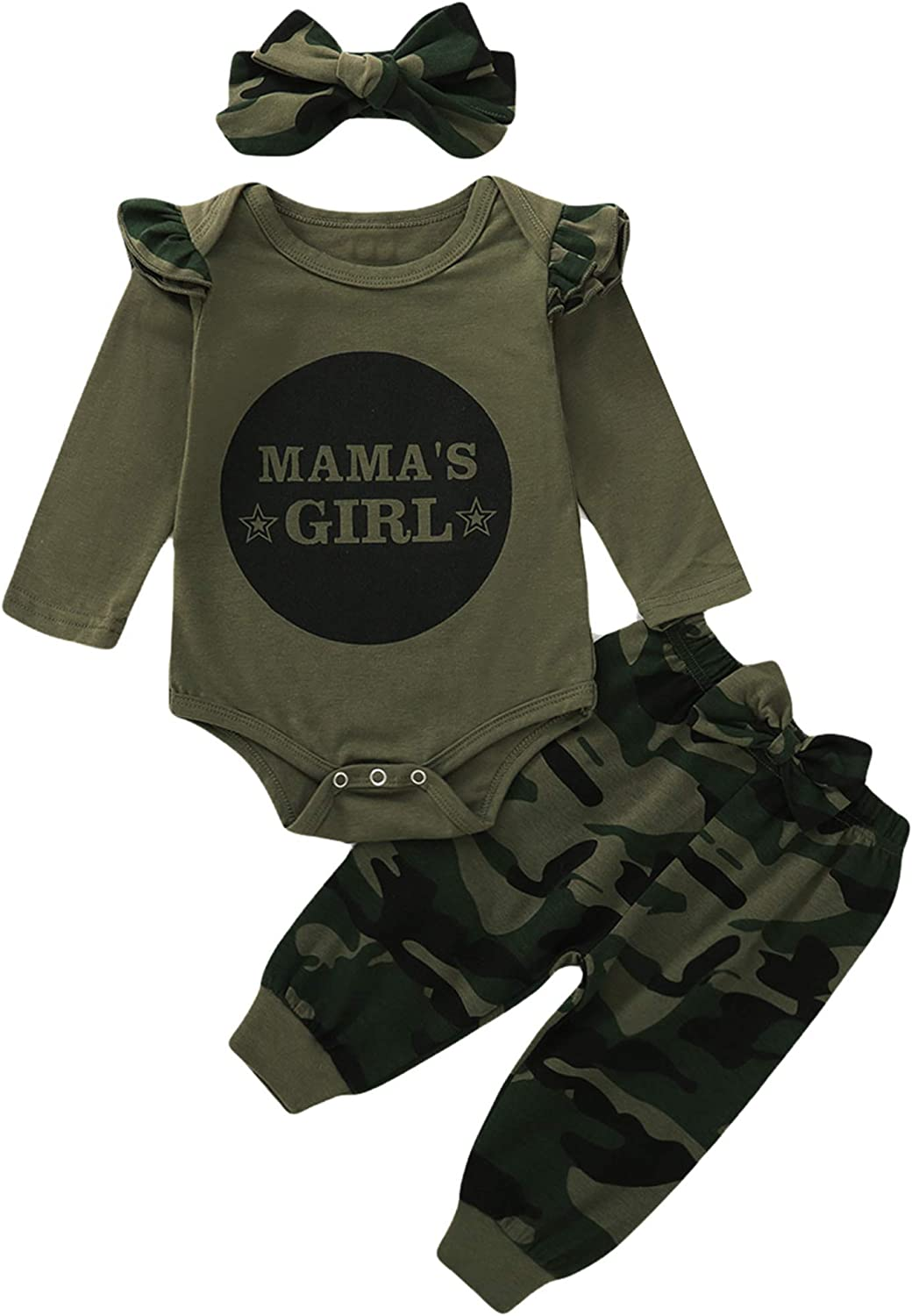 Truly One Baby Girl Outfit Baby Girl Camo Bodysuit Infant Mama's Girl Outfit