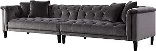 Acanva Luxury Vintage Tufted Velvet Living Room Family Sofa, 4-Seater Couch, Dark gray