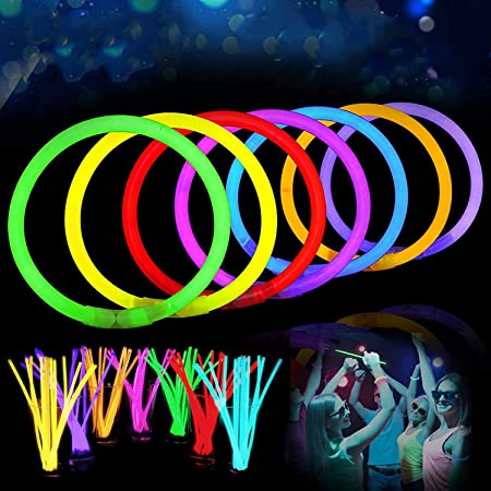 Party Hour Premium Glow Stick in The Dark Lumi Sticks, Light Up Bracelets, Headbands, Necklace, Wristbands Toys for Adult and Kids - Pack of 100 Pieces