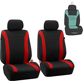FH Group FB054102 Cosmopolitan Flat Cloth Pair Set Car Seat Covers, Airbag Compatible, Red/Black Color w. Gift -Fit Most Car, Truck, SUV, or Van