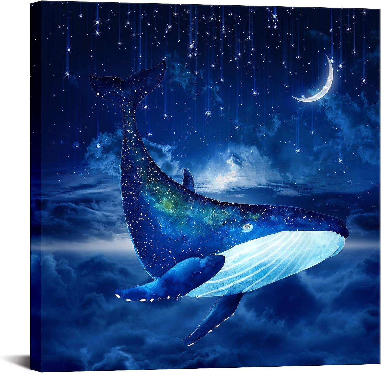 Blue Whale Wall Art Decor Modern Prints Canvas High quality Sea Artwork Anima Nippon regular agency