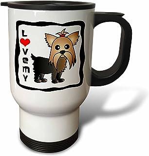 3dRose I Love My Pomeranian Cream Travel Mug, 14-Ounce