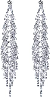 Long Chandelier Tassel Dangle Earrings Women Party Wedding Jewelry Sparkling Clear Austrian Crystal Rhinestone Dangling Silver Plated Earrings