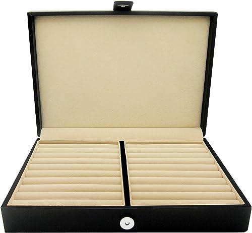 HONEY BEAR Men/Women's Cufflinks Jewelry Box - Faux Leather Display Case Storage Organizer Black, for Rings Earrings ...
