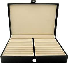 جراب صندوق تخزين مجوهرات من HONEY BEAR للرجال/النساء مع جلد أسود صناعي، مناسب لأقراط حلقات التثبيت
