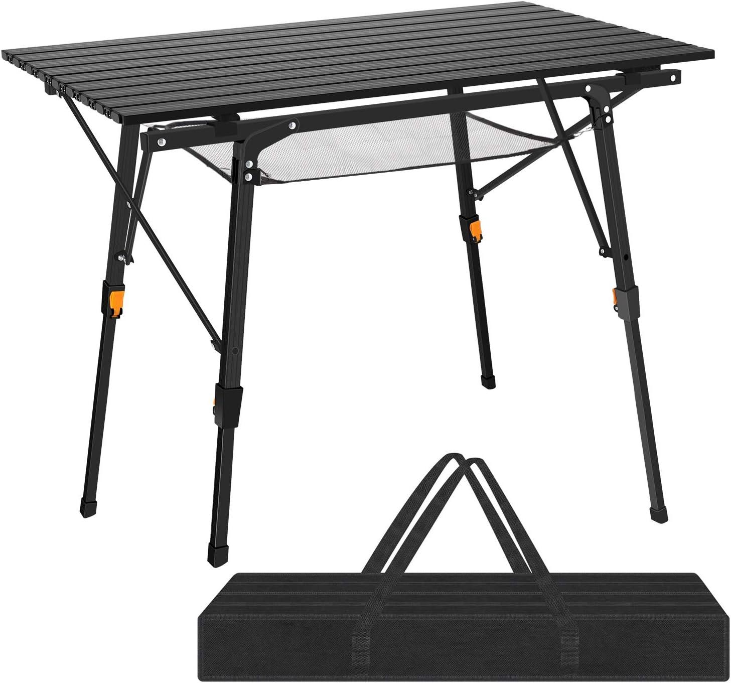 Nestling - Mesa Plegable portátil de Aluminio para Camping o jardín, Plegable, para Acampada, Cocina, Altura Ajustable (2 Partes, Bolsa de Transporte) (Negro)