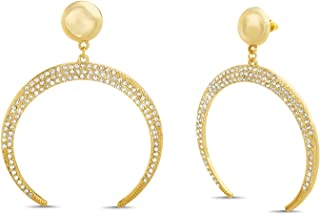 Steve Madden Rhinestone Crescent Drop Earrings for Women