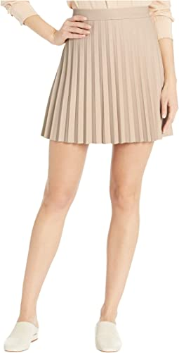 Cannes High-Waist Pleated Faux Leather Skirt
