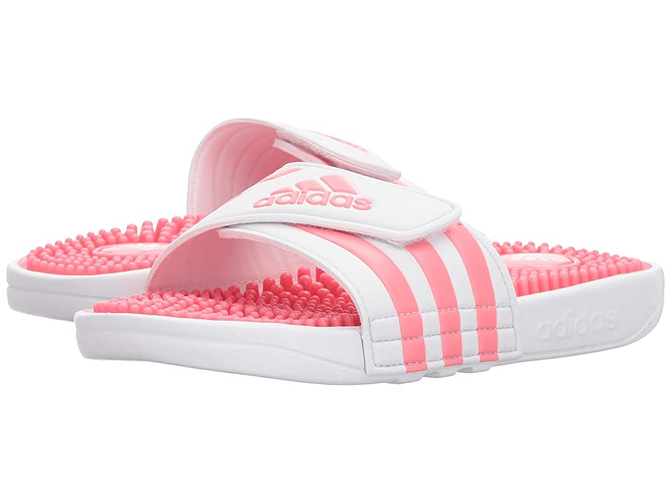 adidas Kids Adissage (Toddler/Little Kid/Big Kid) (White/Chalk Pink) Girls Shoes