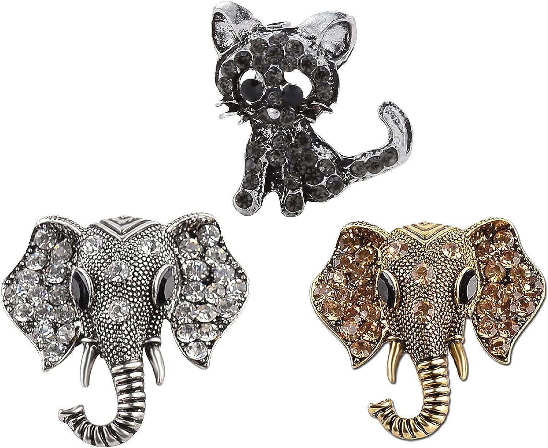 LALANG 3PCS NEW before selling Rhinestone Animal Brooch Ranking TOP14 Lapel Crystal Ca Pin Lovely