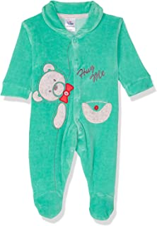 Papillon Bear Embroidery Long Sleeves Shirt Neck Cotton Jumpsuit for Boys 0-3 Months