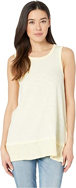Crew Neck Tank with Rib Trim in Slub Jersey