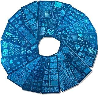 PiniceCore 1 Set Nail Art Stamping Plates Geometry Animali con Sponge Stamper Scraper Stencil per Smalto Smalto Stile Casuale