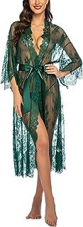 Avidlove Damen Dessous Kleid Lang Kimono Spitze Negligee Nachtwäsche Transparente Robe Set Cardigan mit Gürtel und G-String Bikini Cover up