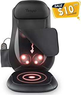 Tespo Back Massager with Heat, Chair Massage Cushion Pad, Shiatsu Kneading Massager for Full Back Pain Relief, Home Office Car Vehicle Use