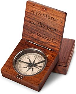 GiftTree Lewis & Clark Compass | Personalized Engraved Hiking Compass with Three Letter Monogram | Decorative Office Gift for Men, Father's Day, 5th Anniversary, Christmas
