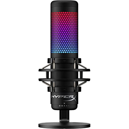 HyperX QuadCast S – RGB USB Condenser Microphone for PC, PS4, PS5 and Mac, Anti-Vibration Shock Mount, 4 Polar Patterns, Pop Filter, Gain Control, Gaming, Streaming, Podcasts, Twitch, YouTube, Discord