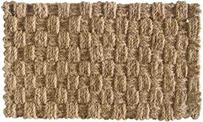 NACH Checkered Braided Coir Rope Entryway Doormat, Natural, (18x30 in)- FW-525 by North American Country Home