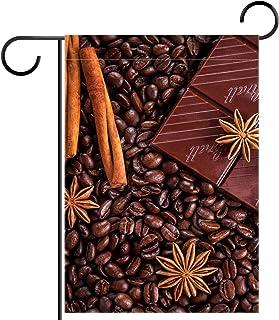 Garden Flag Coffee Chocolate Star Aniseed 12x18 Inch Double Sided Design Decorative Yard Banner Garden Flag Holiday Flag f...