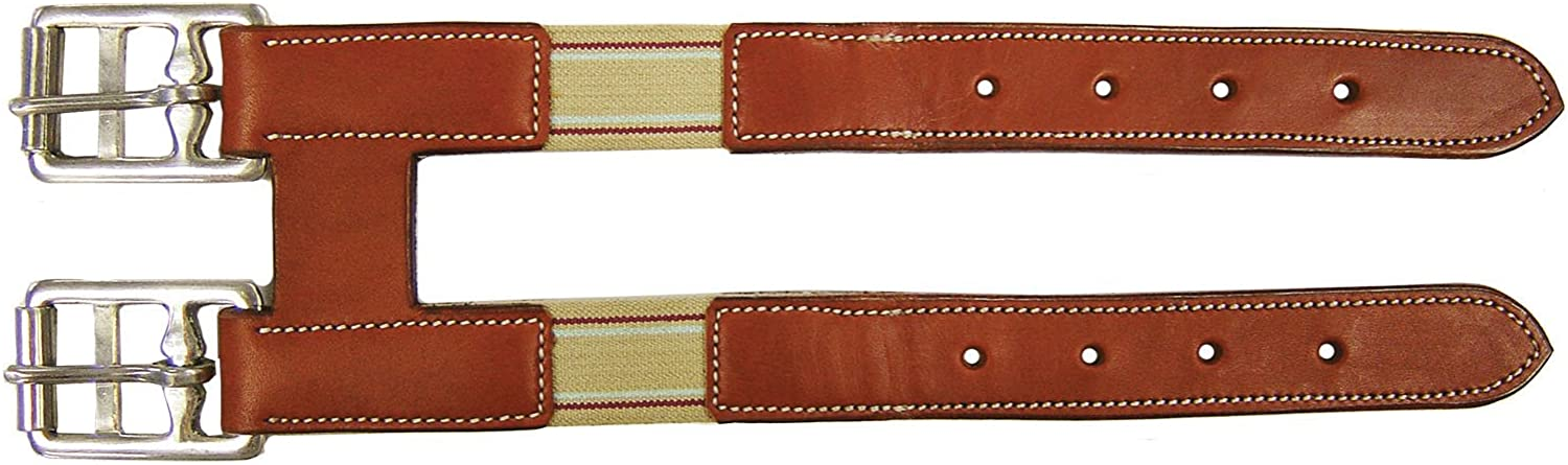 Paris Tack Opulent Series Girth Extender with Elastic  USA Leather Chestnut