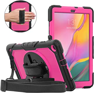 DUNNO Case for Samsung Galaxy Tab A 10.1 Inch 2019(SM-T510/T515) - Heavy Duty Full Body Cover with Built-in Kickstand Shockproof Multiple Viewing Angles (Black/Rose)