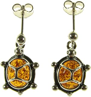 BALTIC AMBER AND STERLING SILVER 925 DESIGNER COGNAC TORTOISE TURTLE ANIMAL STUD EARRINGS JEWELLERY JEWELRY