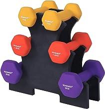 SONGMICS SYL69BK Halterset, hexagon, met halterstandaard, 2 x 1 kg, 2 x 1,5 kg, 2 x 2 kg, matte afwerking, neopreen coatin...