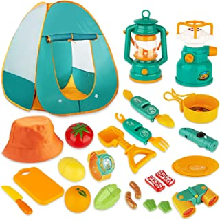 KAQINU 26 PCS Kids Camping Set, Kids Pop Up Play Tent with Camping Gear Tool Toys, Indoor Outdoor Adventure Kits Pretend Play Set for Boys & Girls