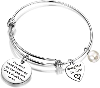 FEELMEM Daughter-in-Law Bracelet You Were Hand Chosen By My Son And Are Like A Daughter To Me Bangle Bracelet Gift for Daughter In Law …
