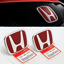 3PCS JDM RED FRONT REAR STEERING EMBLEM BADGE FOR CIVIC COUPE SI 2014-2015