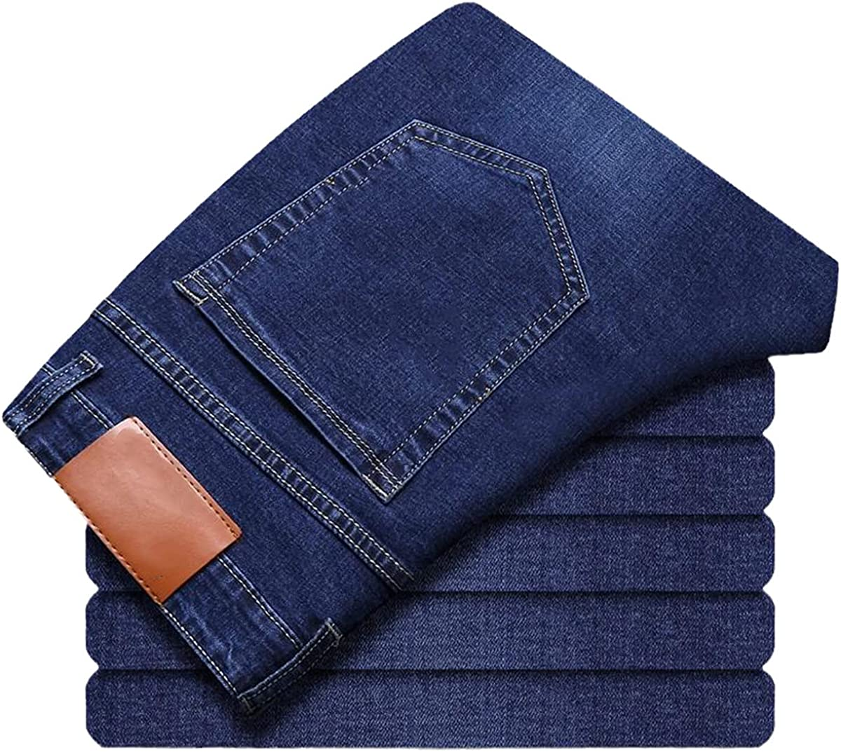 CACLSL Spring and Summer Men's Stretch Straight Jeans Style Trousers Men's