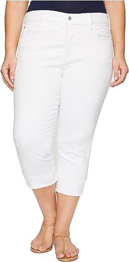 Plus Size Dayla Wide Cuff Capris in Optic White