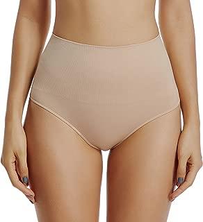Thong Underwear for Women Thongs Shapewear High Waist Cincher Panty Tummy Slimmer Sexy Panties Seamless (Beige-2, M)