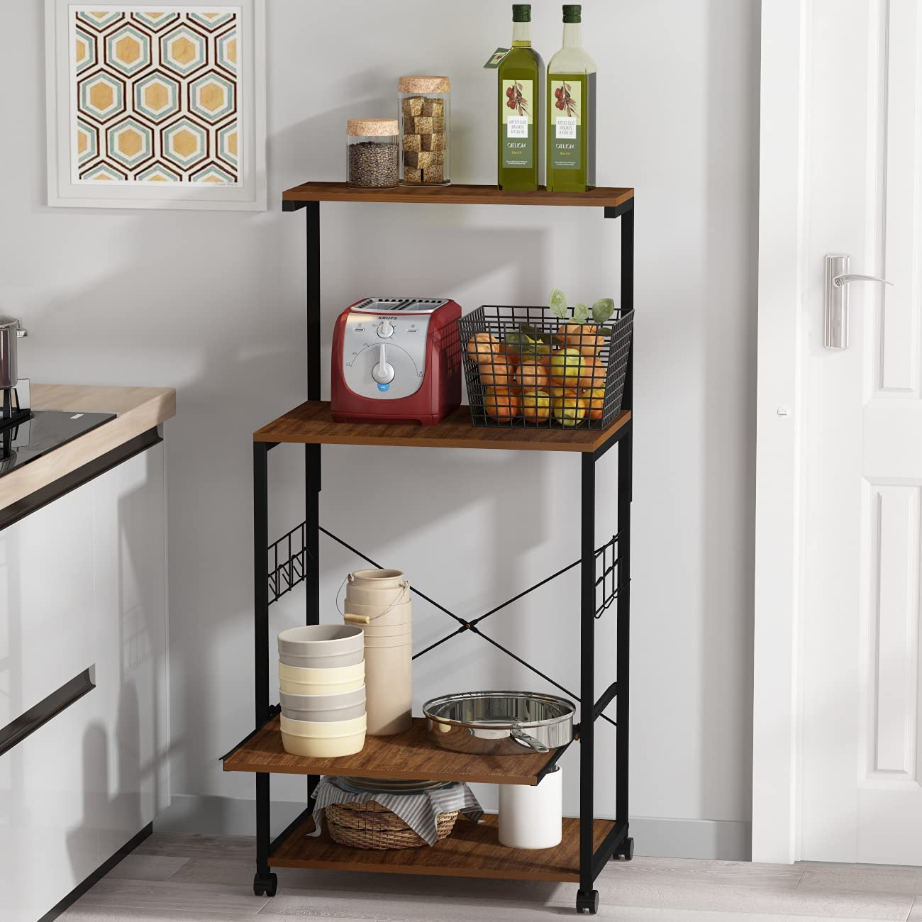 FUFUGAGA 4-Tier Kitchen Bakers Rack Micr Deluxe Hutch Industrial with Ranking TOP11