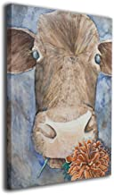 OANAklsd Cow and Flower Farm Animal Farmhouse Wall Art Painting Pictures Print On Canvas Home Decor Modern Decoration 16 X 20inch