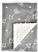 BORITAR Baby Blanket Super Soft Minky with Double Layer Dotted Backing, Little Grey Arrows Printed 30 x 40 Inch, Receiving Blankets