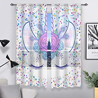 QH Unicorn & Stars Window Sheer Curtains for Living Room...