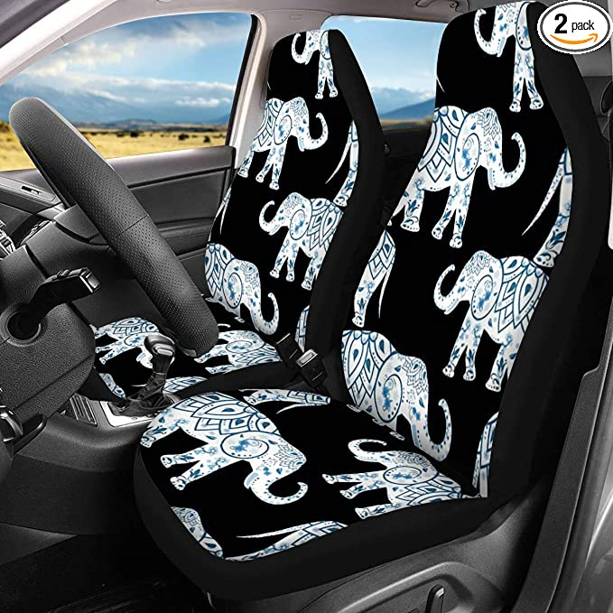ELEQIN 3D Universal Car Seat Covers Floral Dragonfly 2pc Front Car ...