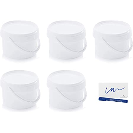 MARKESYSTEM Seau Hermétique Pack 5 x 0,55 litres (550 ml) Récipients empilables en plastique avec couvercle - Récipient alimentaire, catering industriel liquides. Polypropylène + Kit étiqueté