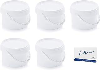 MARKESYSTEM Seau Hermétique Pack 5 x 0,55 litres (550 ml) Récipients empilables en plastique avec couvercle - Récipient al...
