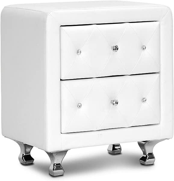 Baxton Studio Stella Crystal Tufted Upholstered Modern Nightstand White