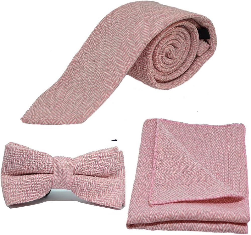 Candy Pink & Cream Herringbone Necktie, Bow Tie & Pocket Square Set