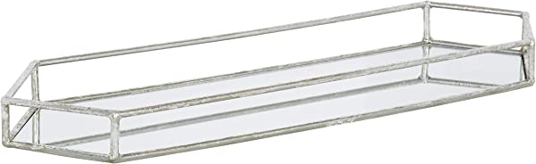Kate And Laurel Felicia Trough Mirrored Tray 26x8 Silver