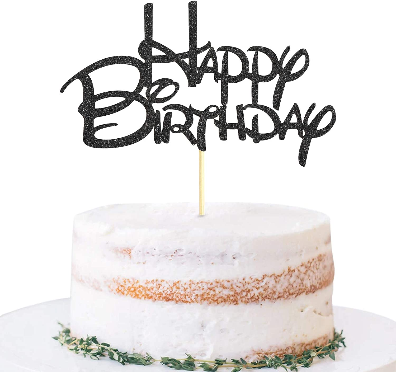 Black Happy Birthday Over item handling ☆ Cake Topper Golden Translated - Party Glitter